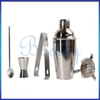 pcs Stainless Steel Cocktail Shaker Mixer Cup Kit Set