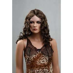 Female Mannequin Long Brown Curly Wig