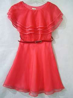 Triple Ruffle Lapel Organza+ Silk Dress + Belt