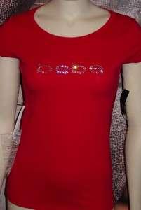 xs*s*m*l*xl BEBE rhinestone OR triple stud LOGO tee shirt top RED/PINK