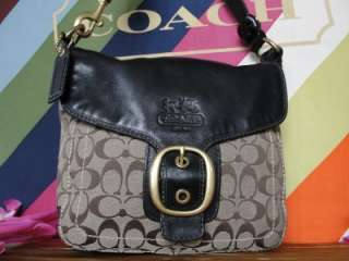 COACH~$428~Black~LEGACY~LEATHER Brown KHAKI SIGNATURE~BLEEKER Gold