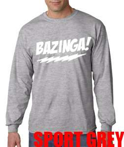 New BAZINGA Big Bang Theory Long Sleeve Tee T Shirt Sheldon Cooper TV