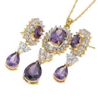 fashion wedding jewelry oval cut set purple amethyst pendant necklace