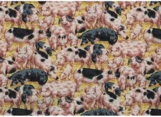 FARM LIVING PINK BLACK PIGS~ Cotton Quilt Fabric