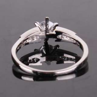 18K white gold filled diamond cut crystal band ring #O #7