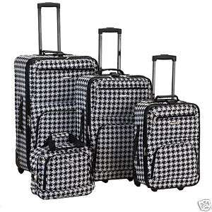 Rockland Houndstooth black 4 pc Luggage set Rolling