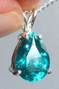 Sapphire SUPER TEAL BLUE Pear Pendant Sterling Necklace 16 Australian