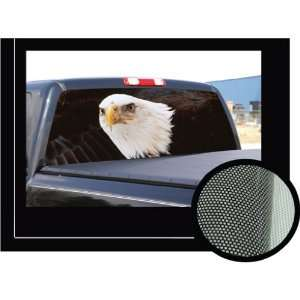 EAGLE FLAG 16 x 54   Rear Window Graphic   compact truck decal view