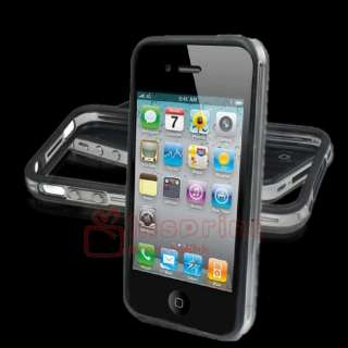 Clear Bumper TPU Rubber Case Cover Skin+Aluminum Buttons For iPhone 4G