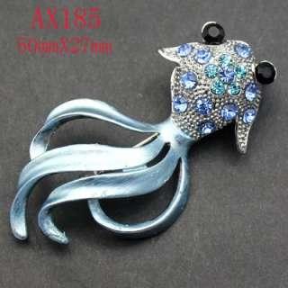 shining blue Rhinestone Crystal fish Brooch AX185
