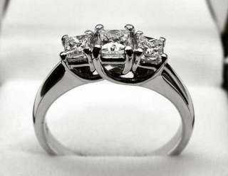 55CT 3 STONE PRINCESS CUT DIAMOND ENGAGEMENT RING