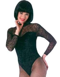 80S Womens Black Lace High Neck Panne Leotard Halloween Costume Os
