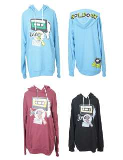 Womens Cute Hoodie 3 Color Fronf Pocket Music character 100% Cotton