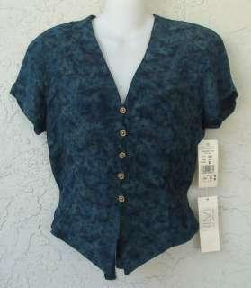 PLATINUM Blue Green Button Top Ties Back Sz S NWT Retail $98.00