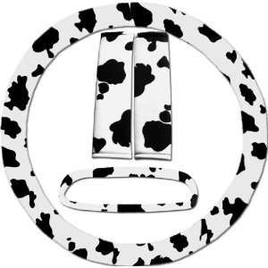 Black and white cow steering wheel cover, seat belt covers