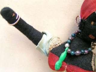 Rare Antique Black Cloth, Felt Doll. Bahia, Brazilian
