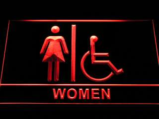 Wheelchair Handicap Accessible Women Restroom Toilet Neon Sign