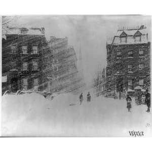 New York City,Blizzard of 1888,street scene during blizzard