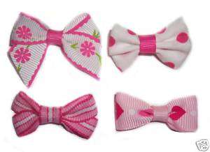 Assorted Pink Dog Puppy Hair Clips Barettes Bows