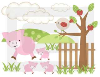 BARNYARD FARM ANIMALS COW SHEEP PIG BOY NURSERY BABY WALL BORDER
