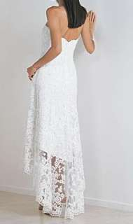 White Lace beach wedding dress/prom gown Size custom