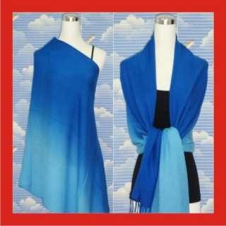 New Two Tone Royal Blue Pashmina Silk Scarf Shawl n020