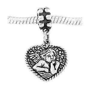 Sterling Silver Baby Angel Heart Cherub Dangle Bead Charm Jewelry