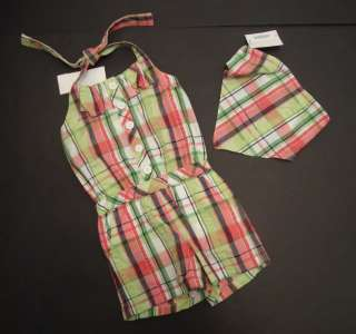 NEW Gymboree Palm Beach Paradise NWT 3T Plaid Seersucker Romper Head
