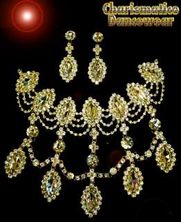 Beauty Pageant Rhinestone Dangling Tear DROP necklace & Earrings set