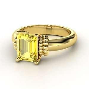 Beluga Ring, Emerald Cut Yellow Sapphire 14K Yellow Gold