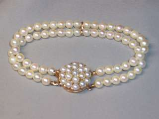 GOLD DOUBLE STRAND PEARL BRACELET WITH ORIGINAL VELVET BOX