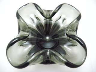 Murano 1950s Clear Black Smokey Glass Candy Dish Ash Tray Excellent