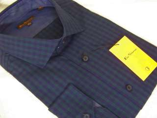 BEN SHERMAN BLUE/GREEN PLAID DRESS SHIRT 17 36/37 NEW