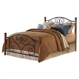 Bed with Frame in Matte Black/Walnut Finish   Full
