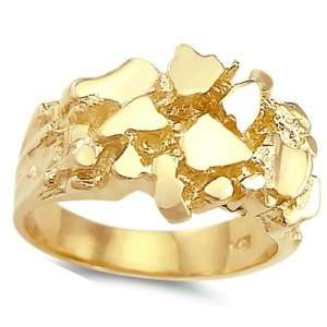 Mens Nugget Ring 14k Yellow Gold Pinky Ring Band, Size 5