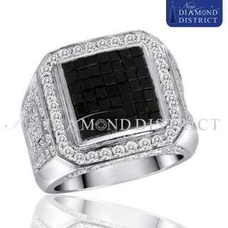 MENS 14K WHITE GOLD 4.75CT TOTAL PAVE SET BLACK & WHITE DIAMOND PINKY