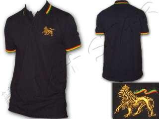 Rasta Reggae Polo Lion Of Judah Embroided Black AU