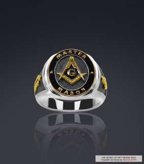 MASONIC MASTER MASON SILVER 925 24K GOLD PLATED RING, VERY FINE ENAMEL
