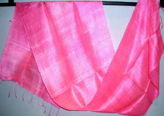 Thai HOT PINK Pure Silk Hand Craft Fabric Scarf New
