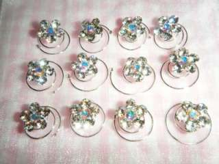 12 Rhinestone Pearl Twist Hair Pins Bridal Accessories