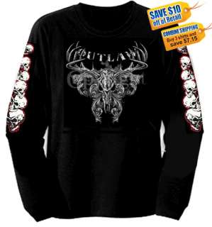 NEW OUTLAW BIKER LONG SLEEVE T SHIRT
