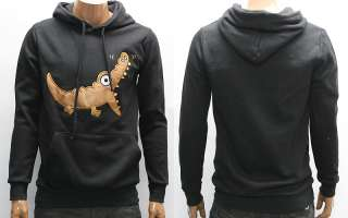 Black Alligator Pullover Fleece Warm Hoody M L / Crocodile Cartoon