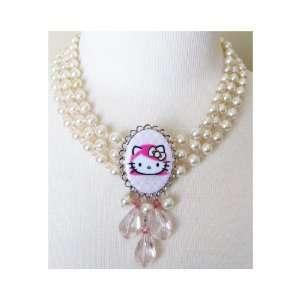 Tarina Tarantino Hello Kitty Pink Head Classic 3 Drop Necklace   Rose