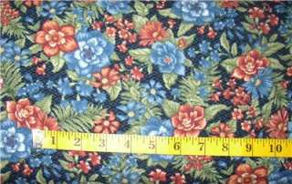 OASIS FLORAL OF REDS, BLUES AND GREENS ON DARK BLUE BACKGROUND