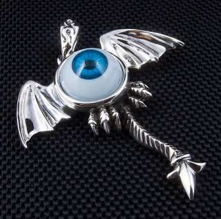 BLUE EYE STERLING SILVER GOTHIC WINGS PENDANT.