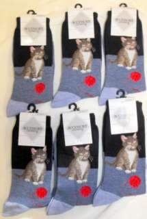 Cat with Red Ball Yarn Calico Blue Crew Socks 9 11 Ladies Teen