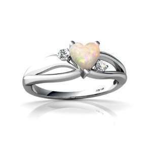 14K White Gold Heart Genuine Opal Ring Size 9 Jewelry