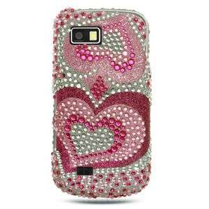 NEW PINK HEARTS BLING HARD CASE 4 SAMSUNG BEHOLD 2 T939