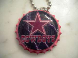 DALLAS COWBOYS FOOTBALL PINK STAR BOTTLE CAP NECKLACE