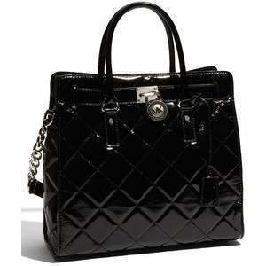 NEW MICHAEL KORS Quilted LARGE BLACK Patent Leather HAMILTON N/S TOTE
